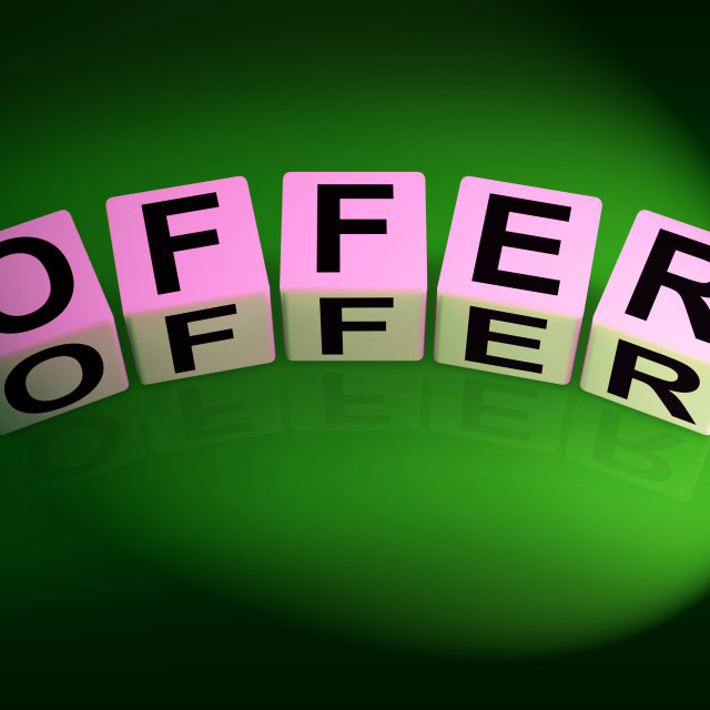 """""""Offer Dice Mean Promote Propose and Submit"""" stock image"""