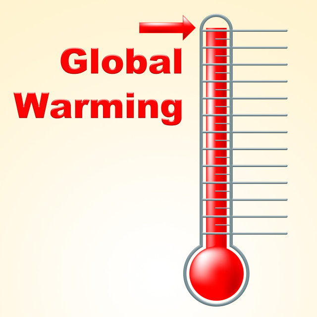 """""""Global Warming Indicates Fahrenheit Thermometer And Celsius"""" stock image"""