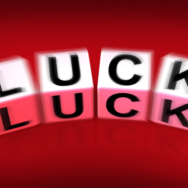 """""""Luck Blocks Displays Fortune Destiny or Luckiness"""" stock image"""