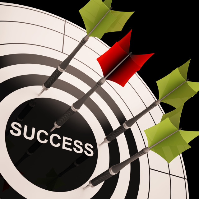 """Success On Dartboard Shows Successful Goals"" stock image"