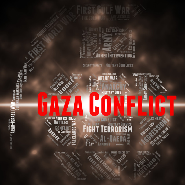 """""""Gaza Conflict Indicates Wordcloud Fighting And Combat"""" stock image"""