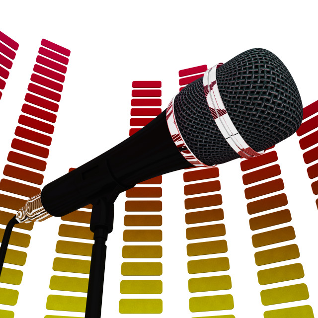 """""""Graphic Equalizer And Mic Shows Rock Music Soundtrack Or Concert"""" stock image"""