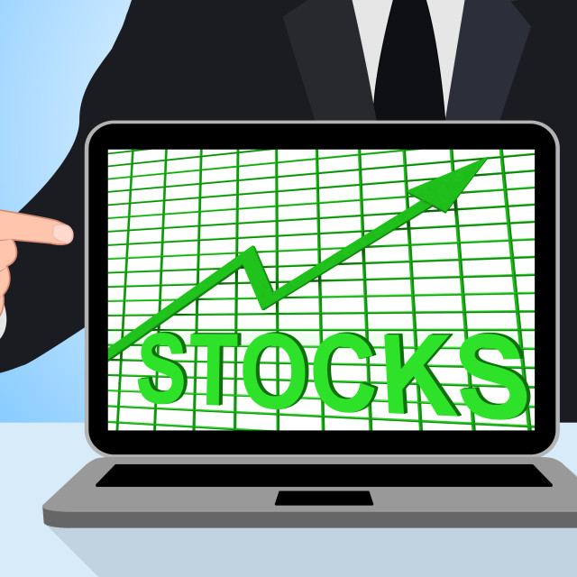 """Stocks Chart Graph Displays Increase Investment Earnings"" stock image"