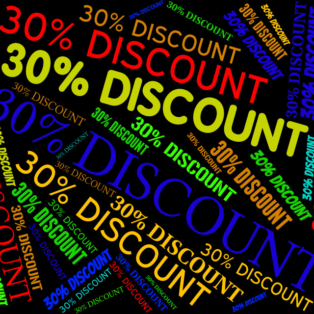 """Thirty Percent Discount Shows Savings Bargain and Cheap"" stock image"