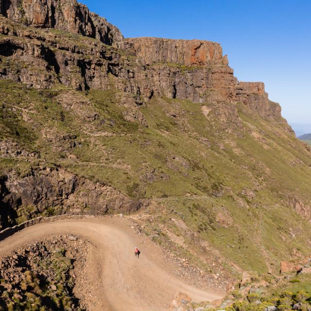 """Hiker Adventurer Mountain Pass"" stock image"