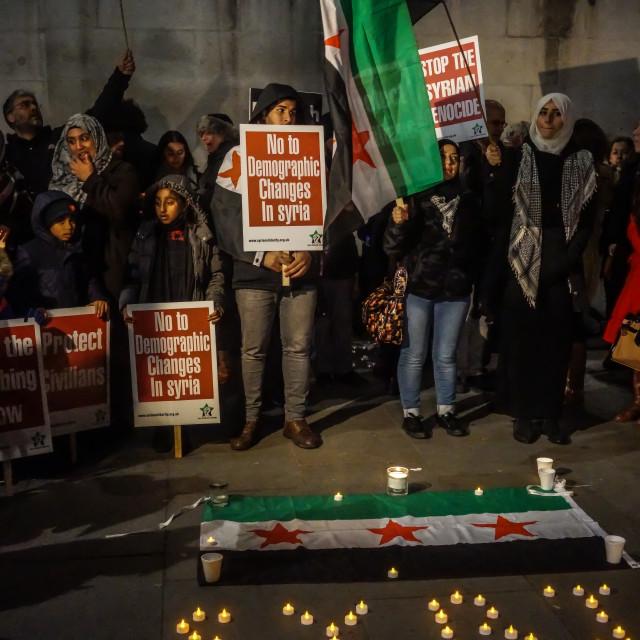 """""""Christmas Vigil for Aleppo in London,UK"""" stock image"""
