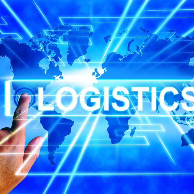 """Logistics Map Displays Logistical Coordination and International Plans"" stock image"