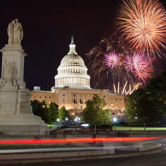 """""""Fireworks over Capitol Hill and the peace monument"""" stock image"""