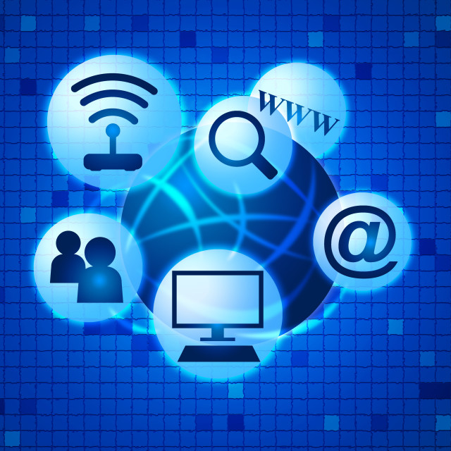 """""""Social Media Indicates World Wide Web And Communicate"""" stock image"""