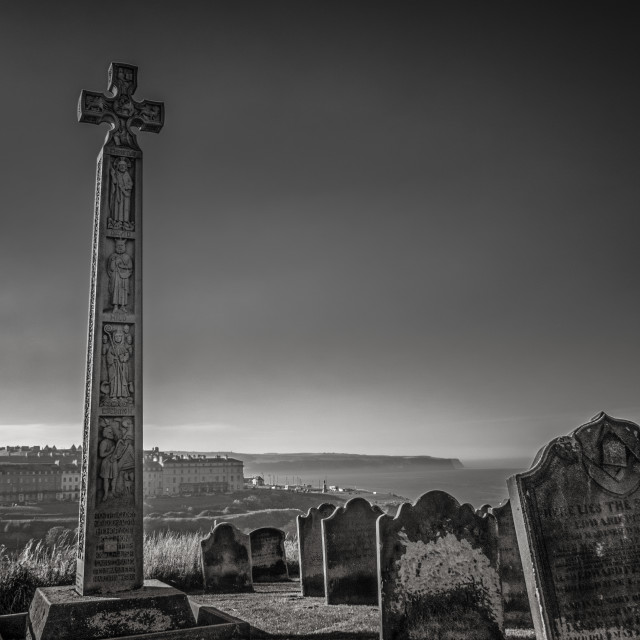 """Whitby cemetery grave yard Abbey seaview in Yorkshire, England the UK"" stock image"