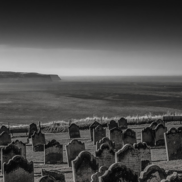 """""""Whitby cemetery grave yard Abbey seaview in Yorkshire, England the UK"""" stock image"""