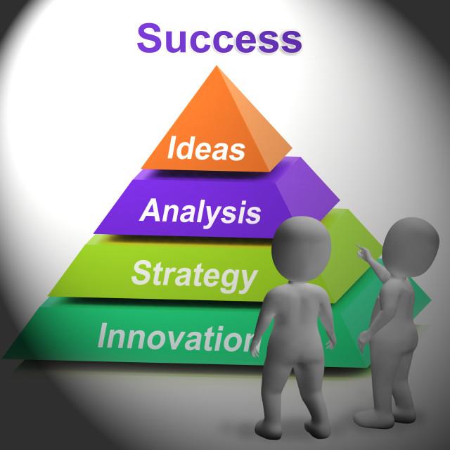 """Success Pyramid Shows Accomplishment Progress And Successful"" stock image"