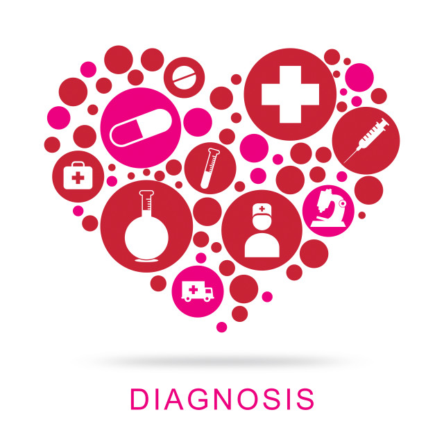"""Diagnosis Icons Shows Diagnose Diagnosed And Investigate"" stock image"