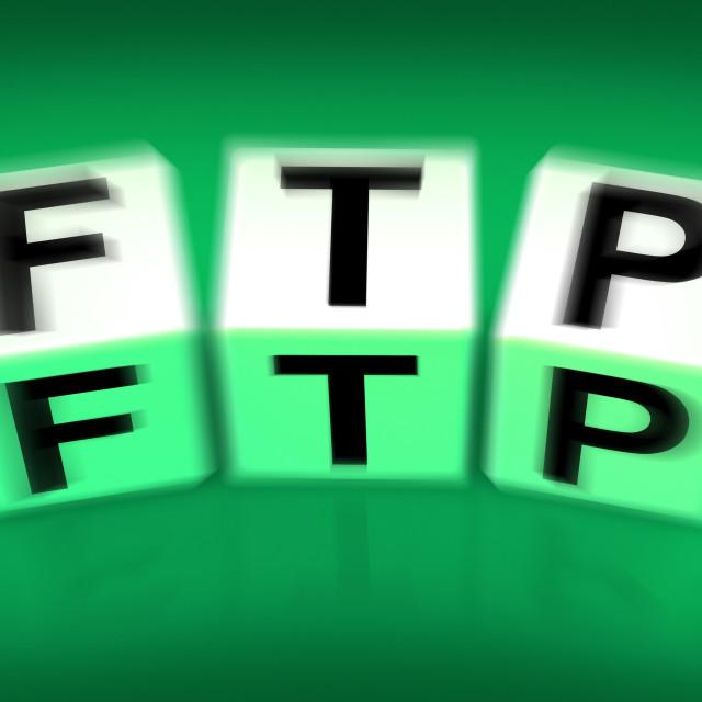"""FTP Blocks Displays File Transfer Protocol"" stock image"