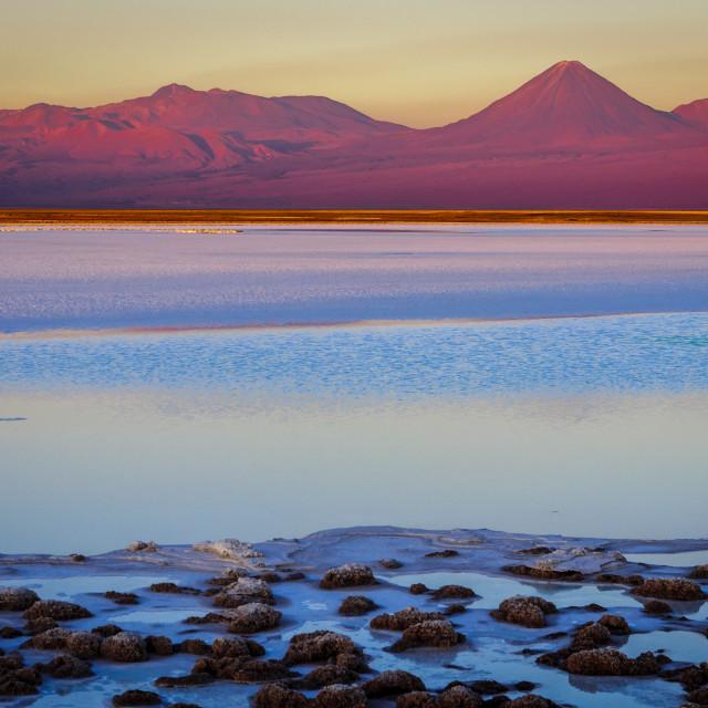 """""""Tebenquinche lagoon and Licancabur volcano in San Pedro de Ataca"""" stock image"""