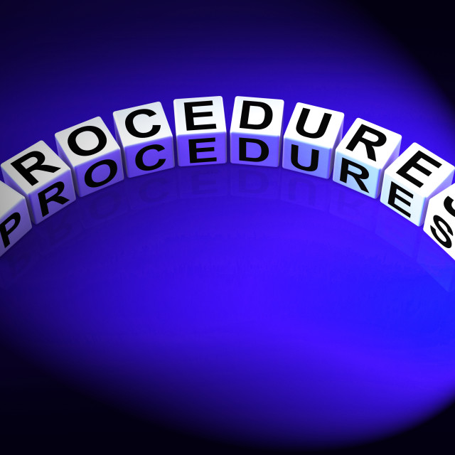 """Procedures Dice Represent Strategic Process and Steps"" stock image"