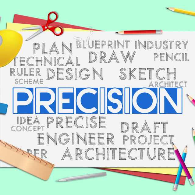 """""""Precision Words Shows Accuracy Exactness And Precise"""" stock image"""