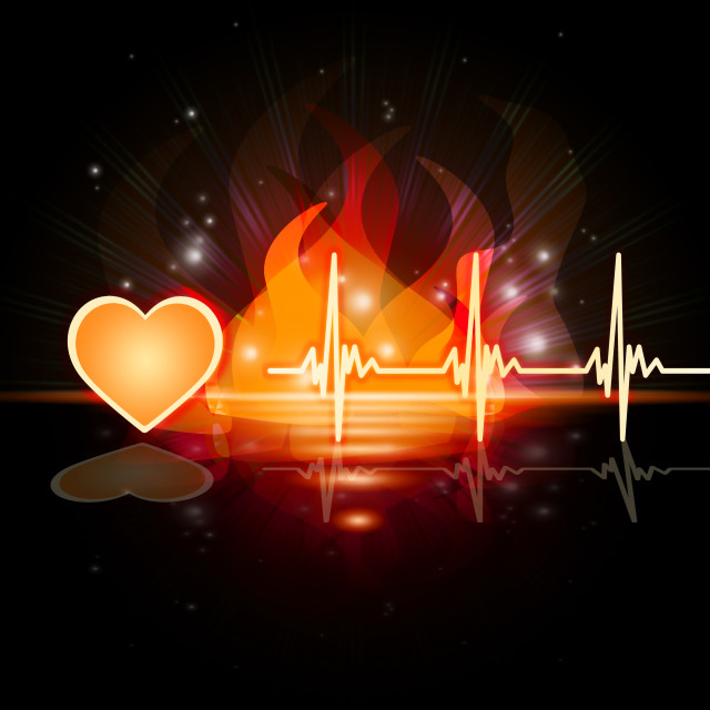 """Heartbeat Fire Means Valentine Day And Cardiac"" stock image"