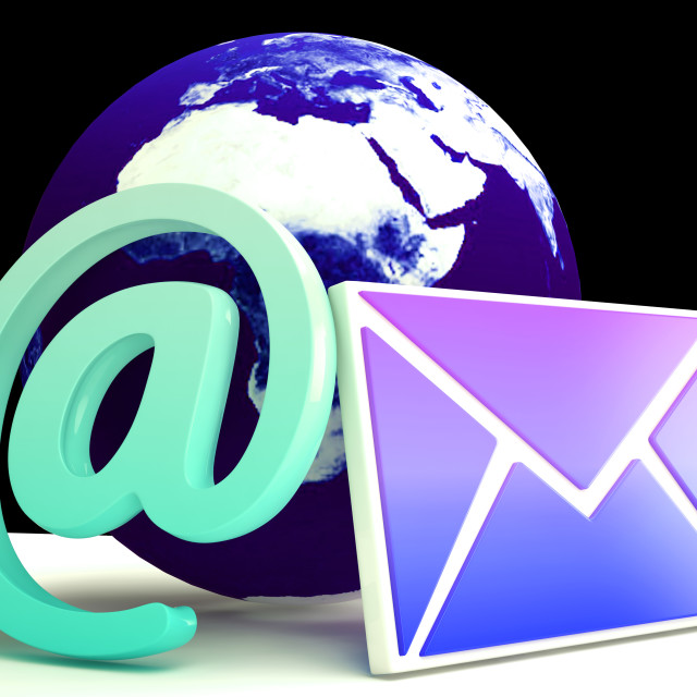 """""""World Email Shows Global Correspondence Post Online"""" stock image"""
