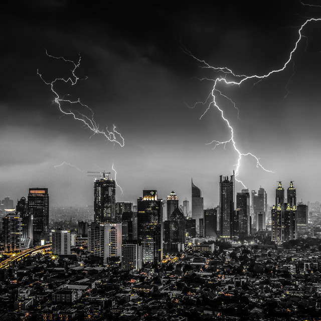 """City under Thor's Hammer"" stock image"