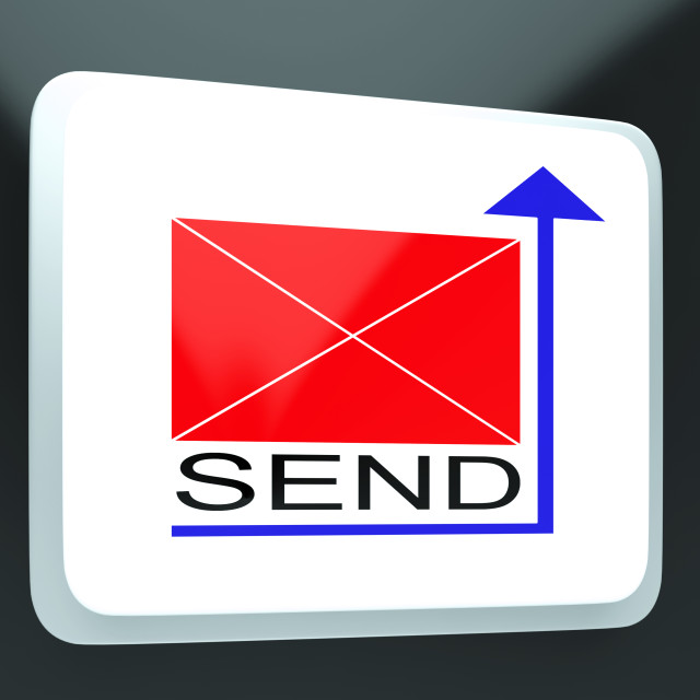 """""""Send Mail Button Showing Online Correspondence"""" stock image"""