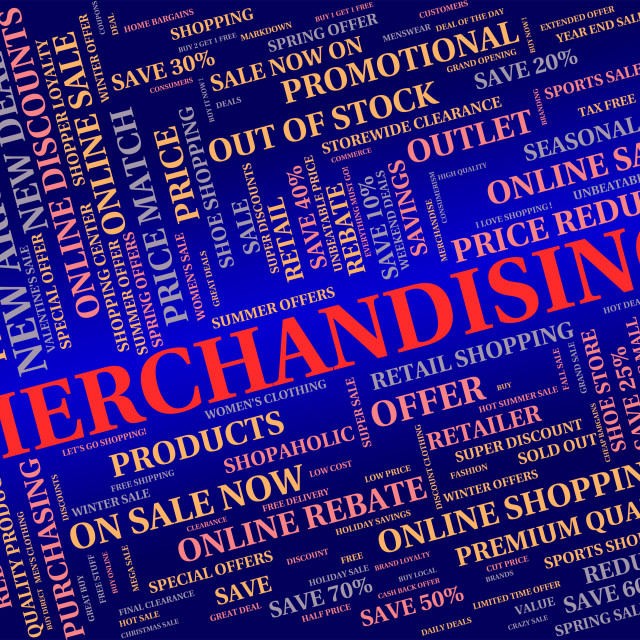 """Merchandising Word Represents Publicize Trade And Promote"" stock image"