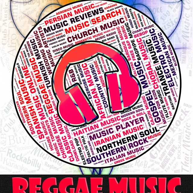 """Reggae Music Represents Sound Tracks And Calypso"" stock image"