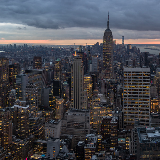 """New York sunset from the Rockefeller Centre"" stock image"