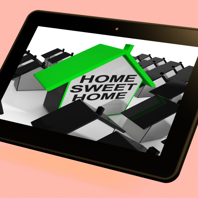 """Home Sweet Home House Tablet Cozy And Familiar"" stock image"