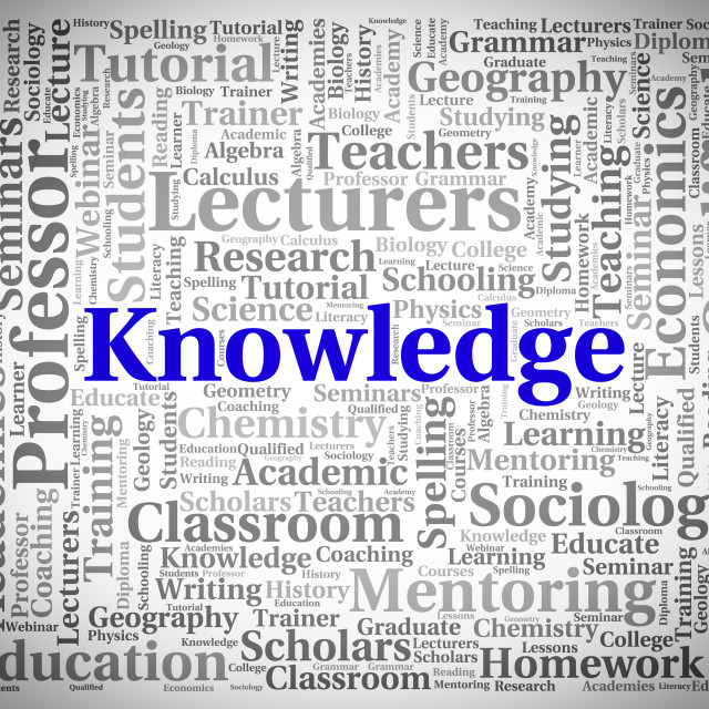 """""""Knowledge Word Represents Understanding Words And Wisdom"""" stock image"""