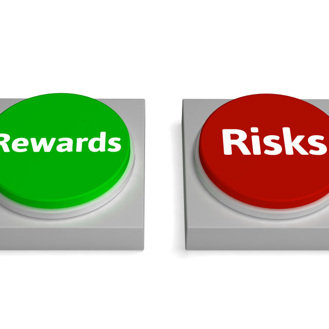 """Risk Reward Buttons Shows Risks Or Rewards"" stock image"