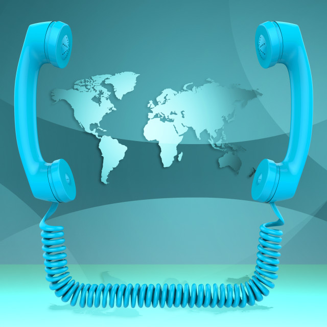 """International Call Represents Globalisation Chat And Earth"" stock image"