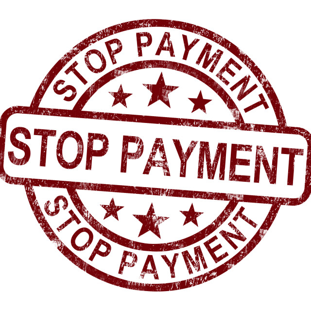 """Stop Payment Stamp Shows Bill Transaction Denied"" stock image"