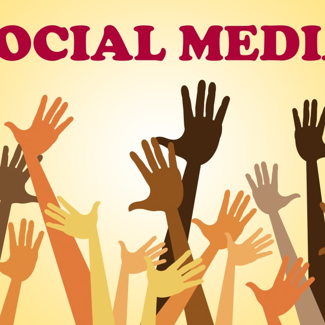 """""""Social Media Means Hands Together And Facebook"""" stock image"""