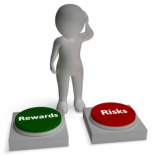 """Risk Reward Buttons Shows Payoff"" stock image"