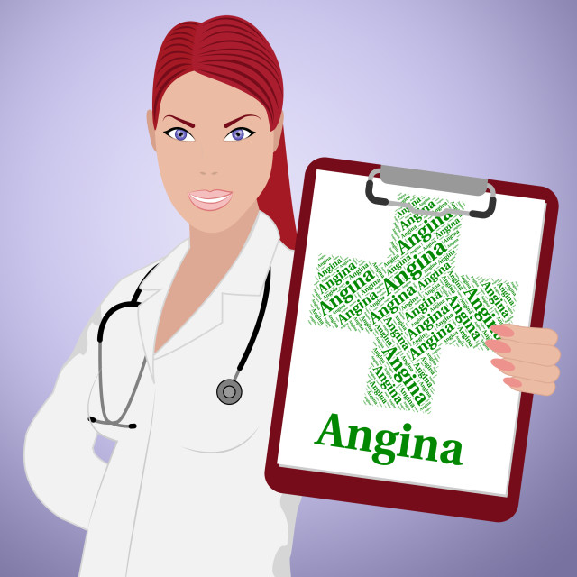"""""""Angina Word Shows Congenital Heart Disease And Affliction"""" stock image"""