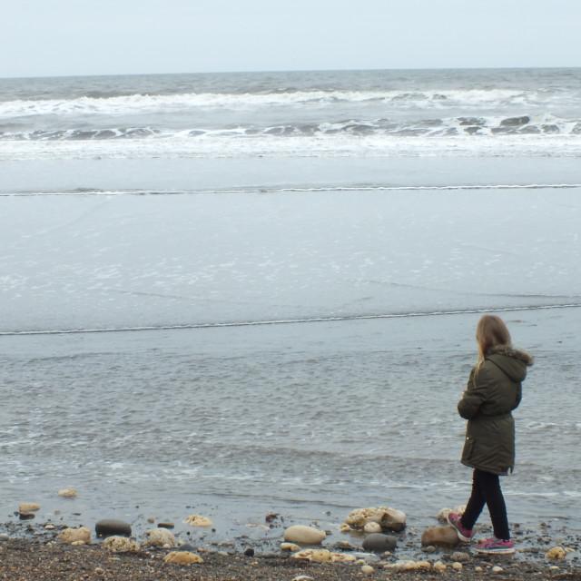 """""""Granddaughter on Horden beach"""" stock image"""