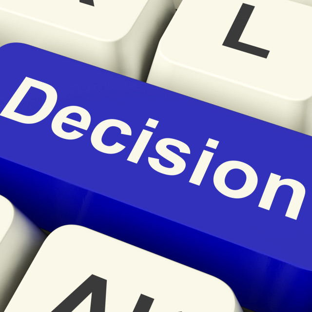 """""""Decision Computer Key Representing Uncertainty And Making Decisions Online"""" stock image"""
