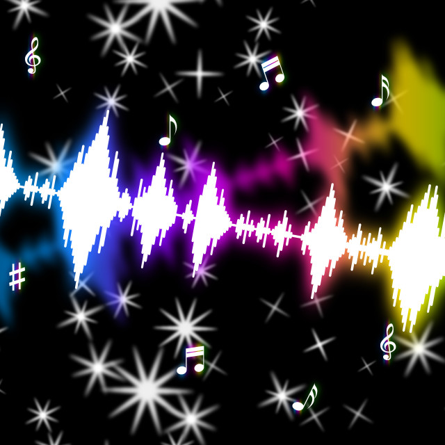 """""""Sound Wave Shows Music Soundtrack And Volume"""" stock image"""