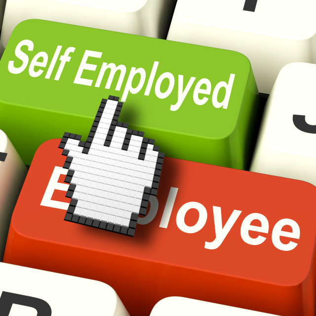 """""""Self Employed Computer Means Choose Career Job Choice"""" stock image"""