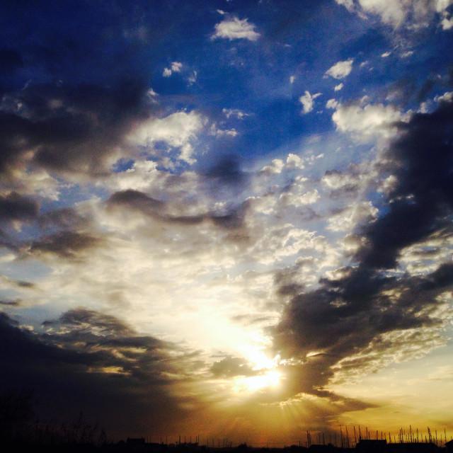 """Sun set over Felixstowe Ferry Suffolk UK"" stock image"