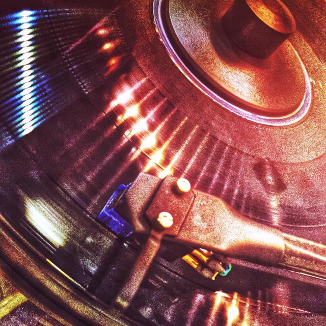 """Listening to warm analog sound"" stock image"