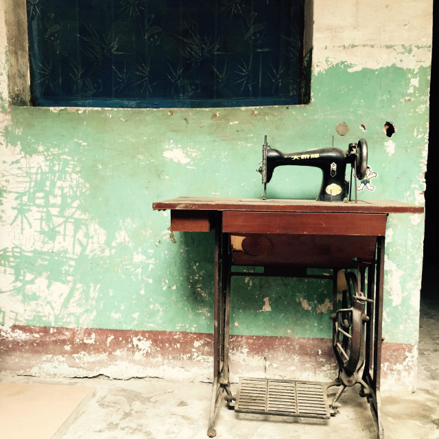 """""""Sewing machine under the window"""" stock image"""