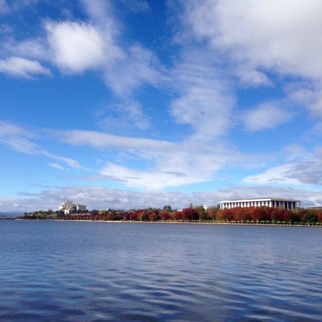 """""""Australian National Library and Lake Burley Griffin in Autumn"""" stock image"""
