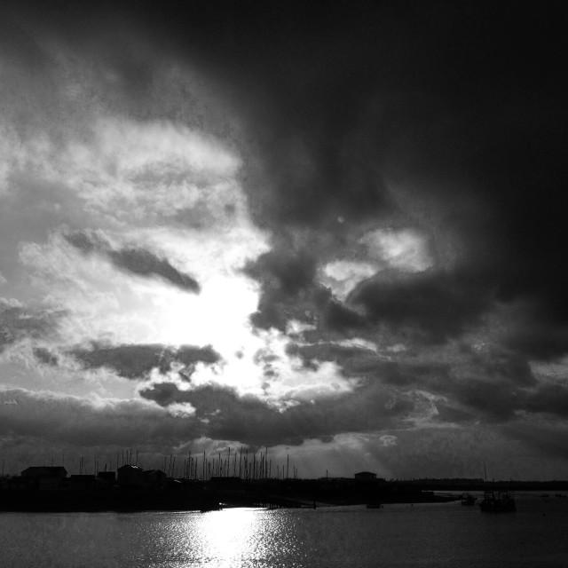 """Sunset over Felixstowe Ferry, Suffolk, UK."" stock image"