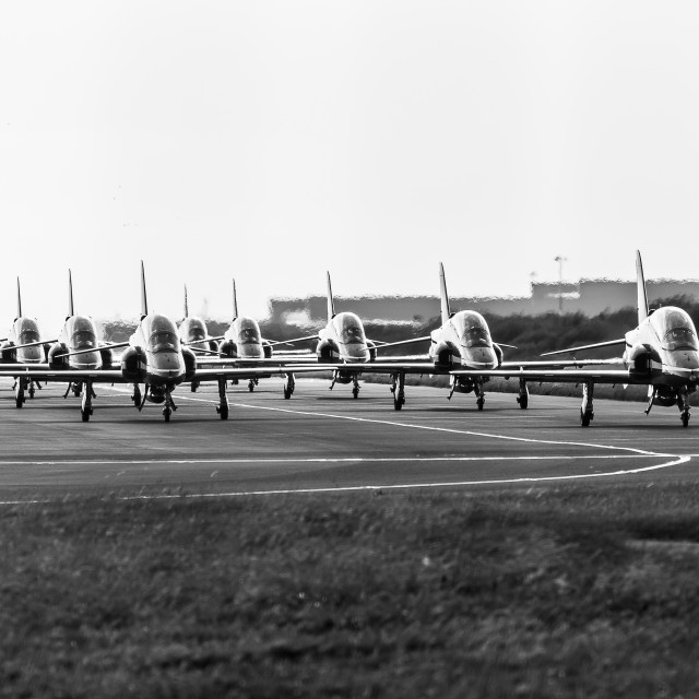 """Ten Red Arrows in monochrome"" stock image"