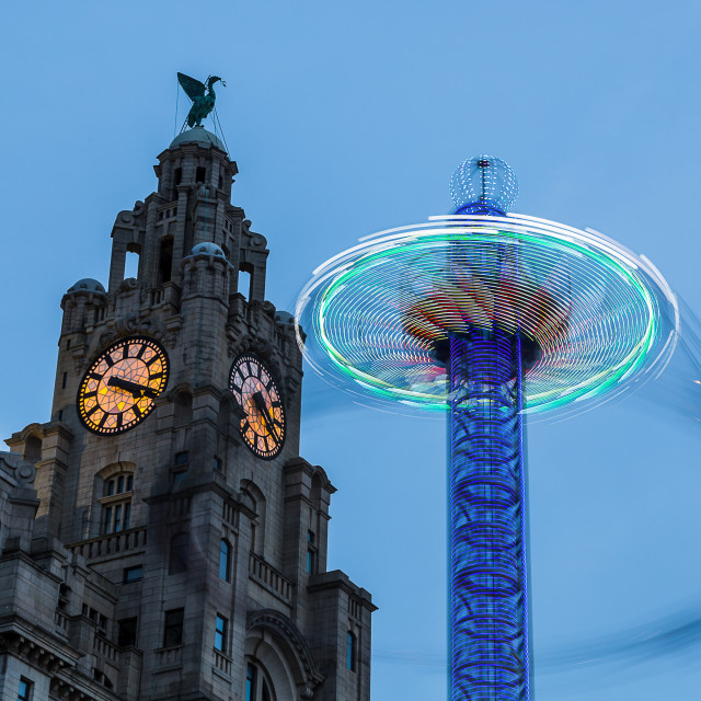 """Spinning with the Liver Birds"" stock image"