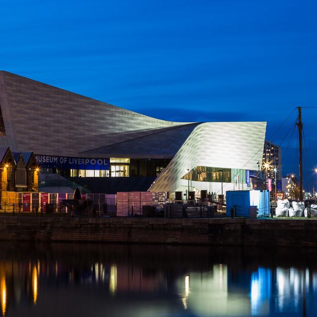 """""""Pier Head panorama during the blue hour"""" stock image"""