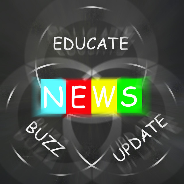 """Communication Words Displays News Update Buzz and Educate"" stock image"