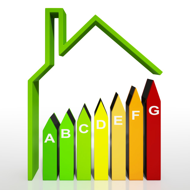 """""""Energy Efficiency Rating Diagram Shows Green House"""" stock image"""
